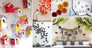 Wall Decor Designs Using Paper Made Decorations Attractive Diy