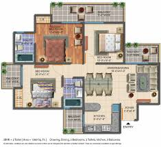 3 Bhk Apartment Floor Plan by Floor Plan Geotech Pristine Avenue Gaur City 2