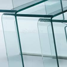 glass nest of 3 coffee side tables clear