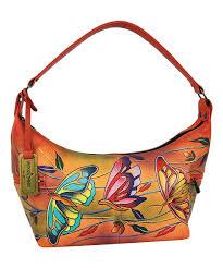 anuschka premium antique anuschka handbags angel wings tangerine painted leather hobo