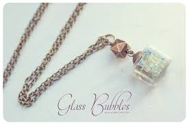 glass bottle necklace images Glass cube necklace bubbles necklace glass necklace glass jpg
