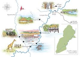 Zambia Map African Safari Walking Safaris Zambia South Luangwa National Park