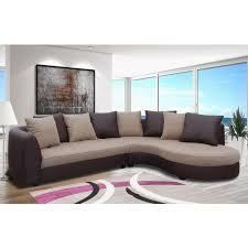 canapé d angle tissu beige canapé d angle à droite en pu marron et tissu beige maison et styles