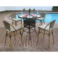 Patio Bar Height Dining Table Set Outdoor Bar Height Wicker Chairs
