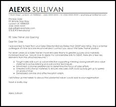 Sample Resume For Trainer Position by Sales Trainer Cover Letter Sample Livecareer