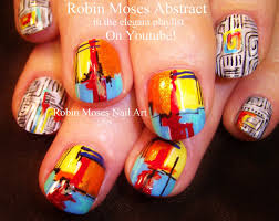 diy rainbow nails geometric abstract fine art nail design youtube