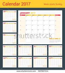calendar planner template 2017 year set stock vector 507807214