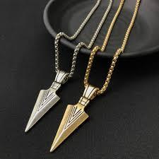 golden jewelry necklace images Hot sale 1pc men 39 s alloy arrow necklaces pendant necklace long jpg