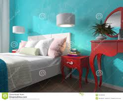bedroom with turquoise walls and bedside tables stock illustration
