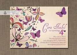 purple butterflies birthday invitation rustic shabby chic vintage