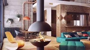 cozy living room with brick wall youtube