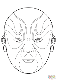 chinese opera mask 5 coloring page free printable coloring pages