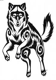 designed and painted big black and white wolf tattoos