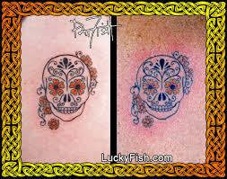 matching sugar skull tattoos luckyfish inc and santa