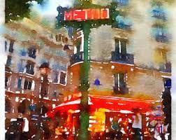 paris cafe drawing etsy