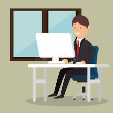 employé de bureau affaires d employé de bureau homme ordinateur illustration de