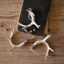 rustic deer antler ornaments set of 6