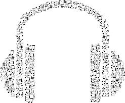 clipart musical notes headphone black