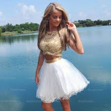 short prom dress white prom dress 2 piece prom dress junior