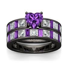 black and purple engagement rings jeulia cut created amethyst wedding set jeulia jewelry