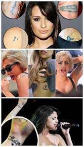 tattoos and petite celebrities lea michele lady gaga selena