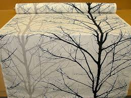 Upholstery Weight Fabric Woodland Tree Print Fabric Black Grey White Funky Upholstery