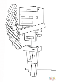 minecraft skeleton with bow coloring page free printable