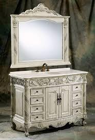 Single Bath Vanity 48 Inch Antique Ivory Single Bath Vanity With Quartz Top And Mirror