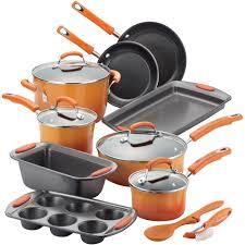 rachael ray 15 piece hard enamel non stick cookware set walmart com