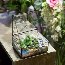 tabletop geometric polyhedron glass terrarium box for succulent