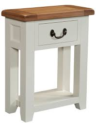 small and low oak console table with drawer and storage painted