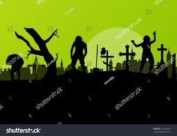 halloween spooky graveyard cemetery vintage background stock
