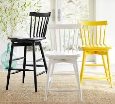 Counter Height Chairs With Back Tilden Spindle Back Swivel Barstool Pottery Barn