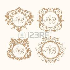floral monogram design template for one or two letters