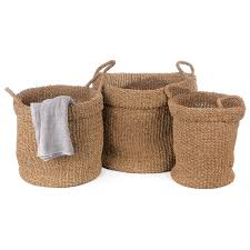 Seagrass Storage Ottoman Hw Home Round Seagrass Storage Basket