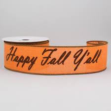 woven ribbon 2 5 happy fall y all faux burlap woven ribbon orange brown 10