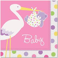 stork baby shower pink girl stork baby shower tableware at best baby shower