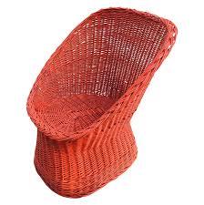Wicker Chair Vintage Bright Orange Wicker Chair Chairish