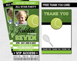 Match Ticket Racket Tennis Thank You Etsy