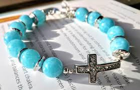 blue quartz bracelet images Beadly things blue quartz with a crystal cross bracelet 39 eternal jpg