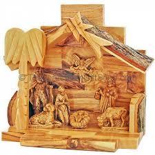 bethlehem olive wood nativity with joseph and jesus olive wood manger
