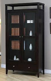 Glass Door Storage Cabinet with Glass Bookcases With Doors Foter