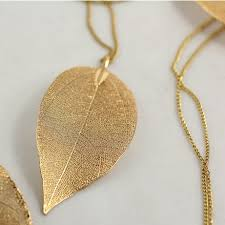 long leaf necklace images Gold leaf necklace clipart jpg