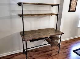 pipe desk with shelves steel and wood desk office iron pipe desk with keyboard tray