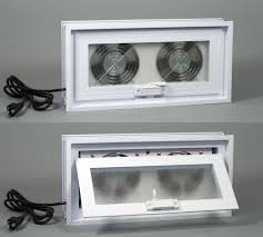 Basement Or Crawl Space Window With Fans 16 W X 8 H Window Fans