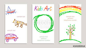 set of wax crayon kid s drawn colorful sample cards with hand