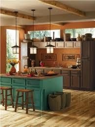orange and brown kitchen decor dark blue kitchen decor image of