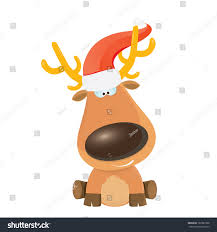 vector cartoon christmas reindeer character kids stock vector