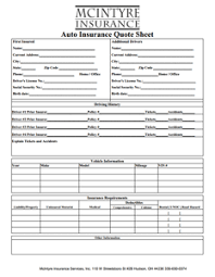 Insurance Quote Sheet Template Get A Quote Mcintyre Insurance Services Of Hudson Ohio