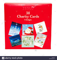 closed shut box of tesco own brand charity cards stock